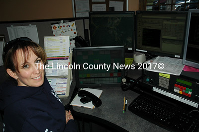 Lincoln County Communications dispatcher Sarah Sherman at her new station in Wiscasset. (Joe Gelarden photo)