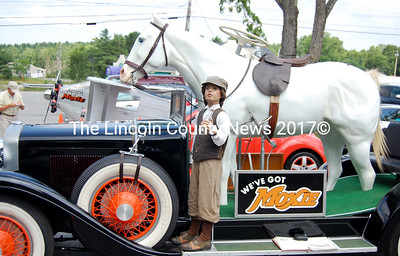 "One of only a few ""Moxie mobiles"" is on display at the Waldoboro Moxie Fest. Also featured were a Moxie-themed car, plane and anamatronic statue. (Alex Toy photo)"