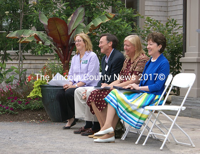 Taking part in the opening ceremony of the Children's Garde are (from l-r) CMBG Executive Director, Maureen Heffernan; The Harold Alfond Foundation Chairman Gregory W. Powell; Maine's First Lady Karen Baldacci; and, U.S. Sen. Susan Collins. (Steve Edwards photo)