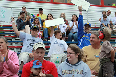 Judges at the Maine Monster Truck Championship give crowd favorite Crushstation high marks. (Photo courtesy of Mark Allen)