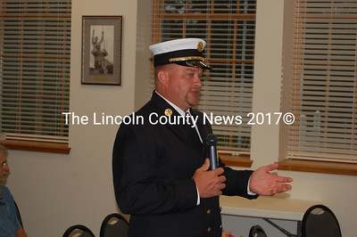 Damariscotta Fire Chief Neil Genthner addresses the Damariscotta Board of Selectmen July 21. The Department of Labor presented Genthner and the Fire Department with the SHAPE award at the meeting. (J.W. Oliver photo)