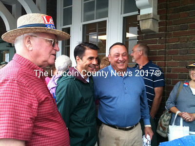 GOP Gubernatorial candidate Paul LePage  and First District Congressional candidate Dean Scontras meet supporters in Rockland Saturday before embarking on a four town Whistle Stop Tour. (A. Brodsky photo)