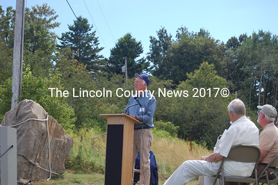 Lincoln Furber, president and director of the Furber Family Association, speaks at the Aug. 7 dedication of the Angel Gabriel monument. (J.W. Oliver photo)