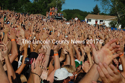 A sea of hands clap during 10 Years' performance at the Wiscasset OxxFest (J.W. Oliver photo)