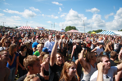 Official concerns regarding the public safety beforehand  proved unfounded as a large crowd enjoyed Oxxfest in Wiscasset July 31 without serious incident. (Kathy Lizotte photo)