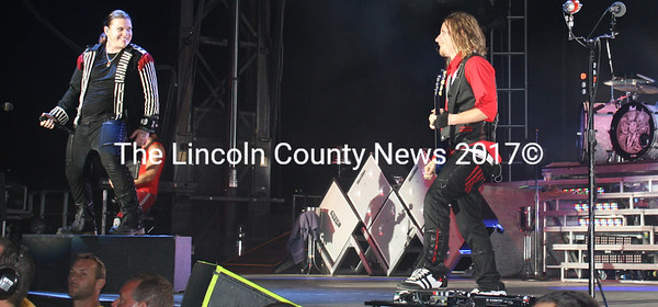 Shinedown lead singer Brent Smith and guitarist Zach Myers seem to be enjoying their visit to Wiscasset for Oxxfest Saturday. (Kathy Lizotte photo)