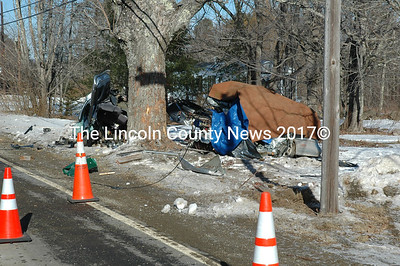 A fatal single-car accident on Rt. 220 in Waldoboro on Jan. 4 left a car in two pieces after striking a pole and then a tree around 11 a.m. (Samuel J. Baldwin photo)
