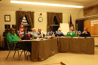 The Wiscasset Board of Selectmen listen to a presentation from the Dept. of Transportation's Gerry Audibert during their regular meeting Jan. 4. (Matthew Stilphen photo)