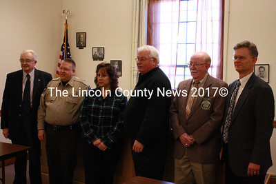 Newly elected Lincoln County officials were sworn in during a ceremony at the Lincoln County Courthouse Jan.4. Shown from the left: Commissioner William Blodgett, Sheriff Todd Brackett, Registrar of Deeds Rebecca Wotton, Treasurer Rick Newell, Register of Probate Chester Fossett and District Attorney Geoffrey Rushlau. (Matthew Stilphen photo)