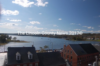 Downtown Damariscotta and her harbor from the roof of Lincoln Theater. (J.W. Oliver photo)