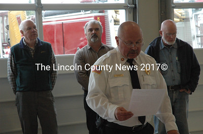Whitefield Fire Chief Tim Pellerin speaks at the dedication ceremony for the new fire station on Oct. 15. (Samuel J. Baldwin photo)