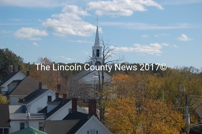 A view of Damariscotta Baptist Church and roofs along Main Street from the top of Lincoln Hall. (J.W. Oliver photo)