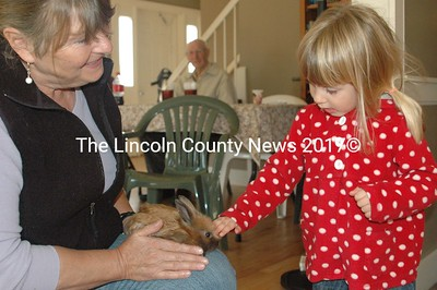 Mercy Buchwalder meets Anna Barber and her bunnies at the Weymouth House open house Oct. 15. (E. Busby photo)