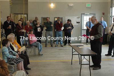 Whitefield Selectman Frank Ober addresses residents at a dedication ceremony for the new fire station Oct. 15. (Samuel J. Baldwin photo)