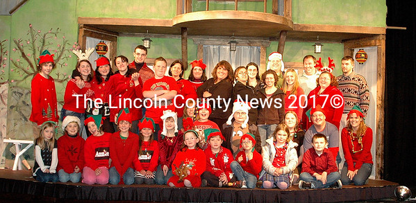 """The cast of """"The X-Mas Files"""" at the Waldo Theatre gets into the tacky Christmas sweater craze. The Waldo is sponsoring a contest to find the most outrageous Holiday sweater at the Tree-Lighting in Waldoboro on November 26 at 6 p.m. at the Town Hall. (E. Busby photo)"""