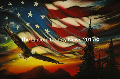 This spray paint art by Tony Vegas will be for sale at the Waldoboro Fire Dept. Dec. 2 at MMS. (Samuel J. Baldwin photo)