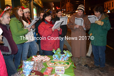 Carolers entertain the shopping throngs in Damariscotta during Wrap It Up Dec. 22. (Kim Fletcher photo)