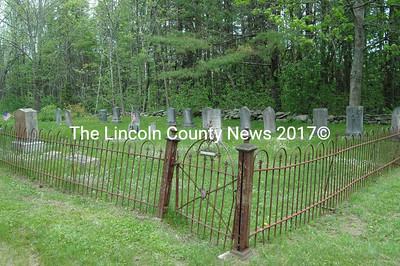 The Eugley/Benner Cemetery, GR-77, is bordered on three sides by a fancy wrought iron fence. The families buried here share a common ancestry with Mathias Benner, an early settler in Nobleboro.