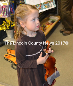 Violinist Elisabeth Wallace, 5, of Juniper Hill School and Damariscotta. Elisabeth is the daughter of Erin Wallace, and a student of Katy Newell's. (Kim Fletcher photo)
