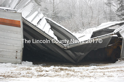 The Nobleboro sand and salt shed collapsed under the weight of snow and ice Feb. 7. (Samuel J. Baldwin photo)