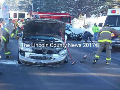 Both operators avoided catastrophic injury in this two car collision at the intersection of Rt. 1 and Belvedere Road in Damariscotta Feb. 4. According to Damariscotta Police, David C. Phillips, 58, of Union attempted to pull out onto Rt 1 and entered the path of a southbound Mazda operated by Kristie R. Lane, 24, of Cushing. There was extensive damage to both vehicles. Route 1 was closed for less than an hour while responders cleared the scene. (Sherwood Olin photo)