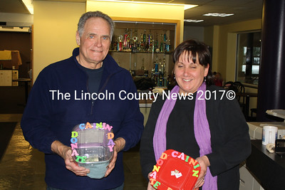 Volunteer Bob Bickford with WinterFest organizer Bonnie Blagdon holding donation boxes for WMS eighth grader Cainin Griffin who is battling luekemia. At the behest of Wiscasset Town Manager Laurie Smith, Feb 5 was also Cainin Griffin Day and many attendees took the opportunity to provide donations for his continued medical care. (Matthew Stilphen photo)