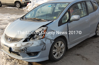The airbag went off in Sarah Sutter's Honda Fit, but she was not serisouly injured in a crash March 2. (Samuel J. Baldwin photo)