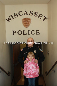 Newly hired Wiscasset Police Officer Jason Warlick poses with his daughter Olivia. Warlick will begin full-time with the department in mid-March. (Matthew Stilphen photo)