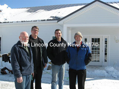 Standing outside the meeting and office space portion of the fire station are (left to right) Erik Ekholm, Lynn Talacko, Tom Catalano and Frank Ober. (Lucy Martin photos)