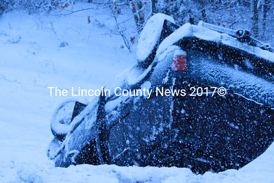 A SUV on Rt. 1 in Nobleboro fell victim to yet another winter storm Feb. 28 as heavy snow and ice brought traffic to a crawl. (Matthew Stilphen photo)