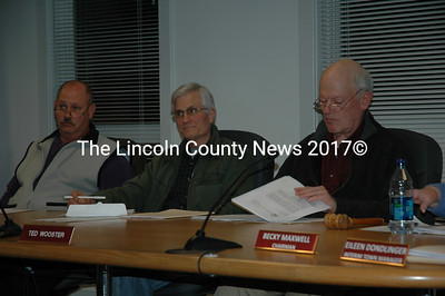 Waldoboro selectmen, from left, Craig Cooley, Bob Butler and Ted Wooster hear residents' comments on a proposed intersection project. (Samuel J. Baldwin photo)