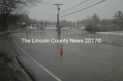 Rt. 32 in Waldoboro is almost impassable after morning flooding on March 7. (Samuel J. Baldwin photo)