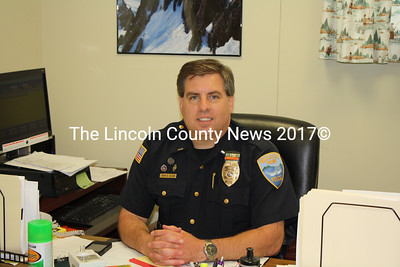 Wiscasset Police Lt. John Allen behind his desk on May 31. The 25-year veteran of the force is set to retire June 2. (Matthew Stilphen photo)