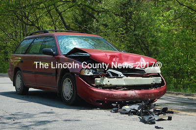 "The driver of this Subaru Outback, Julie Giles, was transported to the emergency room with ""minor injuries"" following a May 26 accident on the West Alna Road. (J.W. Oliver photo)"
