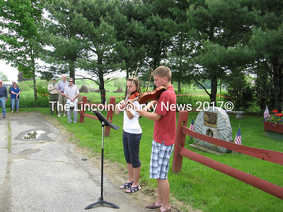 Sarah and Alex Smith perform the National Anthem during the outdoor portions of Whitefield's annual Memorial Day observance on Monday.