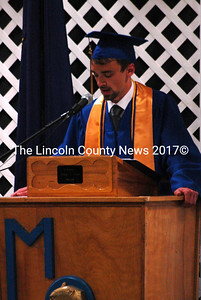 MVHS Class of 2011 President Quinton Vannah welcomes students, family and friends to graduation night. (Samuel J. Baldwin photo)