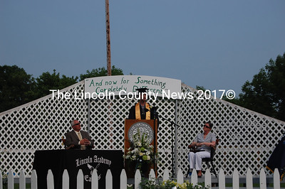 Valedictorian and Class President Alex Hadik talks about the importance of community. (J.W. Oliver photo)