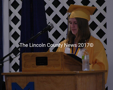 "Salutatorian Molly Parent tells her classmates to ""make mistakes and learn from them,"" during her salutatory speech. (Samuel J. Baldwin photo)"
