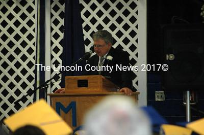 MVHS Principal Harold Wilson opens the ceremonies at the class of 2011 graduation. (Samuel J. Baldwin photo)