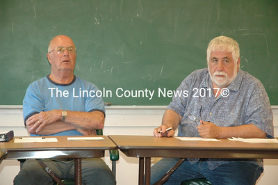 The Bremen Board of Selectmen - Tom Kostenbader, left, and Hank Nevins - set Aug. 4 for a special town meeting to discuss approving funds for replacing the town office boiler. (Samuel J. Baldwin photo)