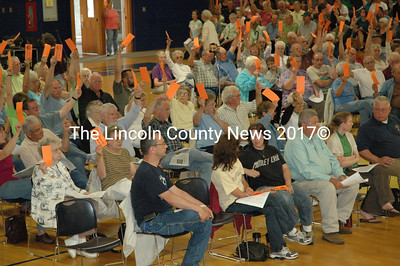 Waldoboro residents cast their votes at a special town meeting on July 9. (Samuel J. Baldwin photo)
