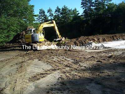 Groundwork for the new Nobleboro salt and sand shed started this week. (Kim Fletcher photo)