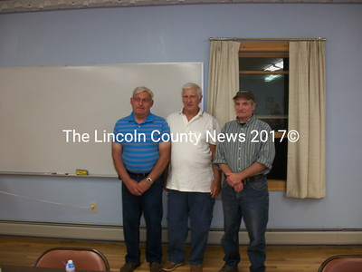 "Thurlow ""Sonny"" Leeman, Bob Tibbetts, and Round Pond Asst. Chief Gil Jaegar were honored for their lifelong service at the Lincoln County Fire Chiefs Association dinner, Aug. 17. (A. Brodsky photo)"