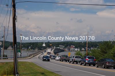 Traffic crawls onto the Donald E. Davey Bridge in Edgecomb Aug. 2. (J.W. Oliver photo)