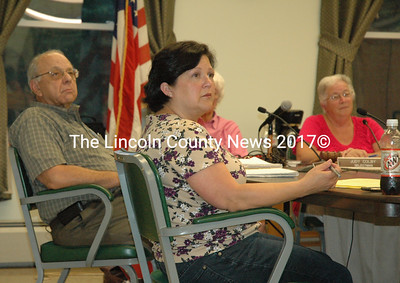 Wiscasset selectmen voted to make their monthly payment to RSU 12 at their Aug. 2 meeting. Pictured (left to right): Selectmen Ed Polewarczyk and Pam Dunning, and Chairwoman Judy Colby. (Samuel J. Baldwin photo)