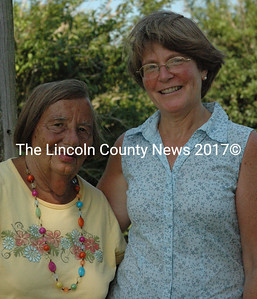 """Dorothy """"Dot"""" Howell (left) with Brenda Welch at Howell's Whitefield home. (Samuel J. Baldwin photo)"""