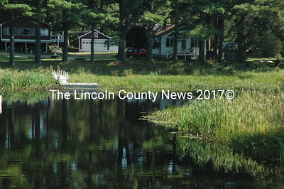 Davis Stream, which runs through the Jefferson village into Damariscotta Lake, is the site of a recently discovered hydrilla infestation, the second in the area. (Samuel J. Baldwin photo)