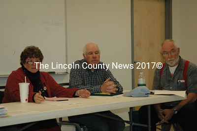 The Whitefield Board of Selectmen discussed the upcoming dedication ceremony for the town's new fire station at their meeting on Sept. 20. Pictured, left to right, Selectmen Sue McKeen, Dennis Merrill and Frank Ober. (Samuel J. Baldwin photo)