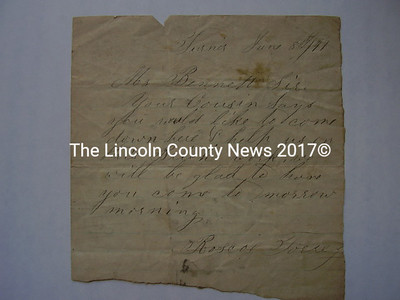 The letter is authored by Roscoe Torrey to a Mr. Bennett, saying that he is welcome to help him with some brick work he is planning for the next day, and on the back is some music.