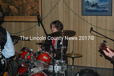 Zack Parmaleau, the 2010 Jan. Dam Jam scholarship recipient, plays drums with Jacks and Aces at Jan. Dam Jam IV. (J.W. Oliver photo)